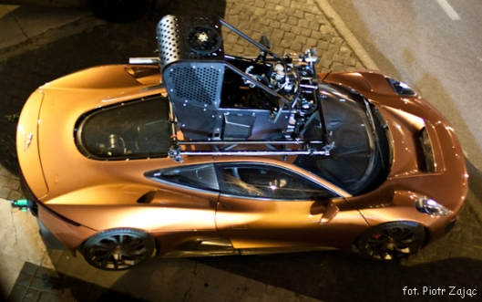 "Jaguar C-X75 with cage for a stuntman on a roof on "" Spectre "" film set in Rome"