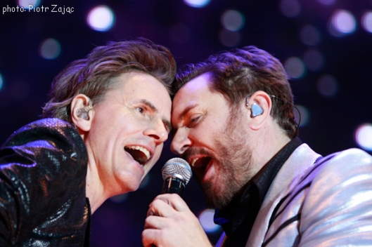 John Taylor and Simon Le Bon from Duran Duran perfom on stage in Wroclaw, Poland