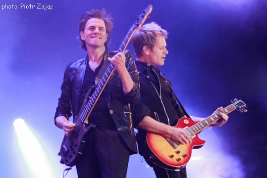 John Taylor and Dom Brown from Duran Duran perfom on stage in Wroclaw, Poland