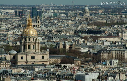View from the Eiffel Tower towards the east with the Dome of Les Invalides on the left and the Pantheon in background