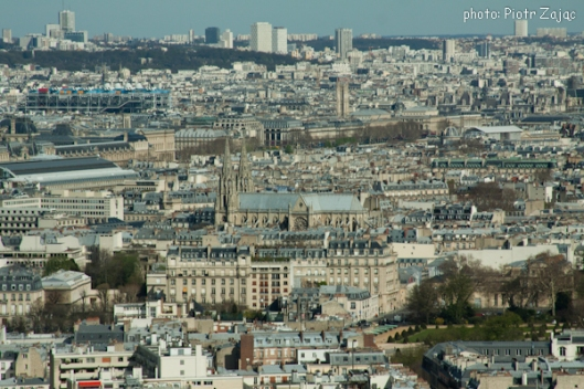 View from the Eiffel Tower towards the east with the Basilica of Saint Clotilde and the Centre Georges Pompidou in the top left corner