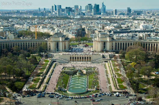View from the Eiffel Tower at Trocadero Gardens and La Defence district in background