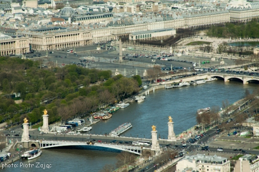 View from the Eiffel Tower at the Pont Alexandre III bridge and Place de la Concorde in background