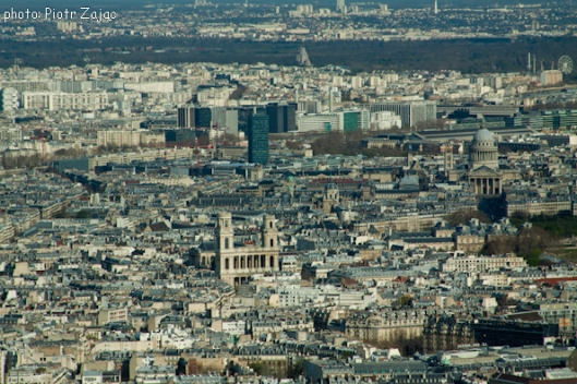 View from the Eiffel Tower towards the east with the church of Saint-Sulpice in the middle and the Pantheon on the right
