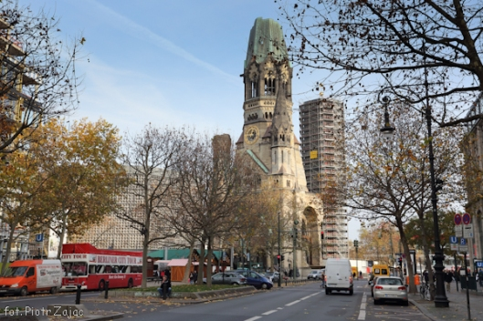 "Kurfürstendamm street with in background Kaiser Wilhelm Church in Berlin - filming location of "" Octopussy """