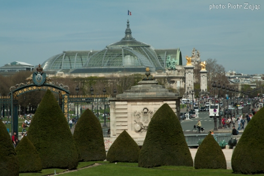 View from the Esplanade des Invalides at the Pont Alexandre III bridge with the Grand Palais in background