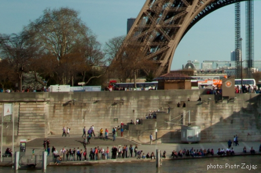 Stairs between Quai Branly at the Eiffel Tower and Port de la Bourdonnais at the Seine river