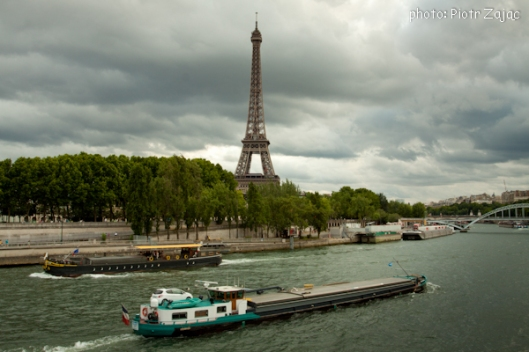 View from the Pont de l'Alma at the Port de la Bourdonnais at the Seine river with the Eiffel Tower in background