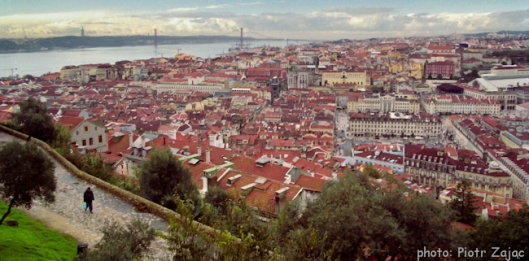 View from the Saint George Castle at Lisbon with the 25 de Abril Bridge in background
