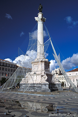 The Column of Pedro IV in the centre of Rossio Square in Lisbon