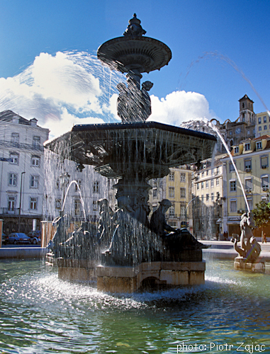 Fountain at Rossio Square in Lisbon