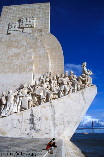 The Monument to the Discoveries and the 25 de Abril Bridge in background, Lisbon