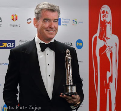 Pierce Brosnan with award during 29th European Film Awards Ceremony in Wroclaw, Poland