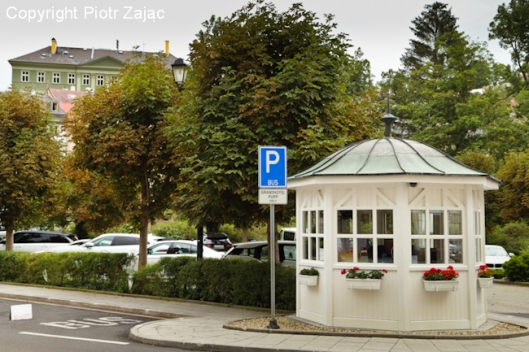 Parking lot at Grandhotel Pupp in Karlovy Vary, Czech Republic