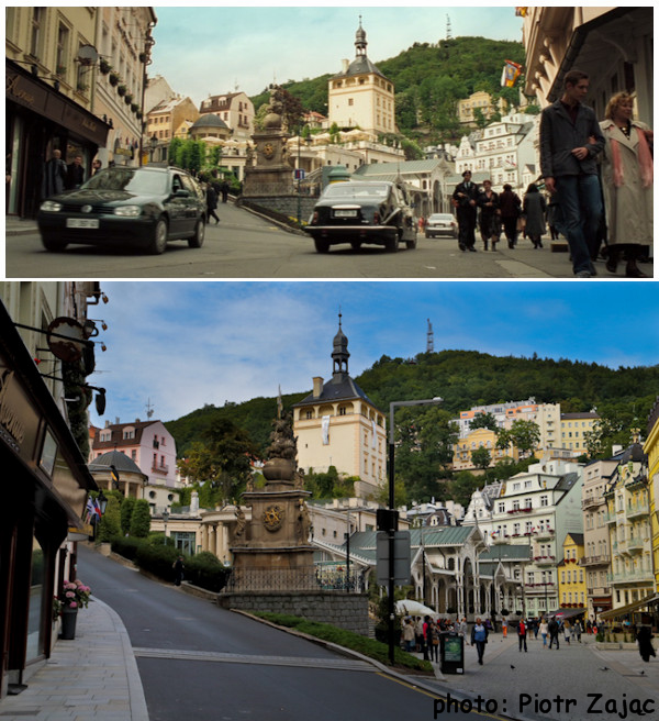 Trziste street in Karlovy Vary in Czech Republic.