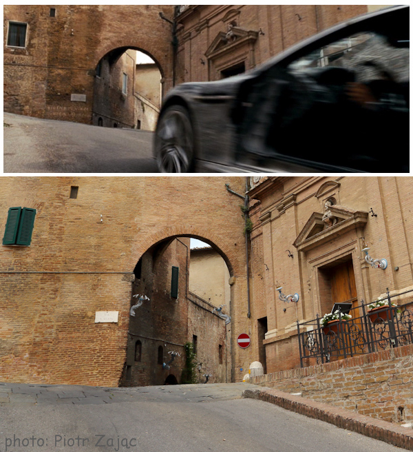 James Bond entering Siena in 'Quantum of Solace'.