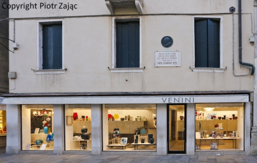 Venini shop at Piazzetta dei Leoncini in Venice, Italy