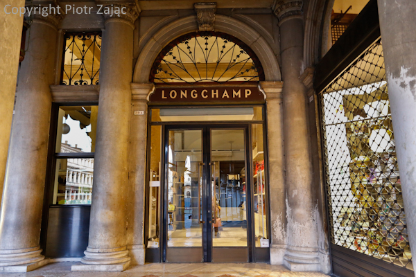 Longchamp shop at St. Mark's square in Venice, Italy
