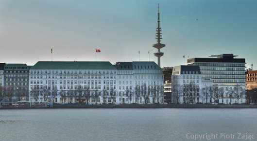 View from Ballindam at Binnenalster in Hamburg, Germany