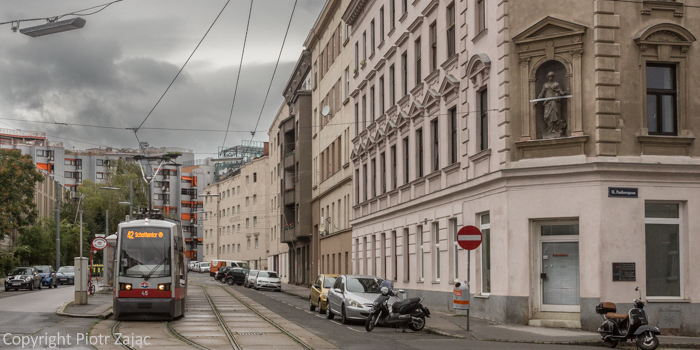 Tram stop on Antonigasse in Vienna, Austria