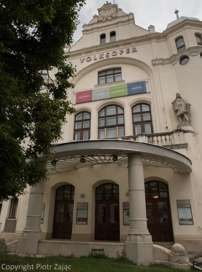Main entrance to Volksoper at Währinger Strasse in Vienna, Austria